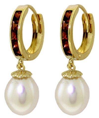 14K Solid Gold 8.00ct Pearl & 1.30ct Garnet Earring