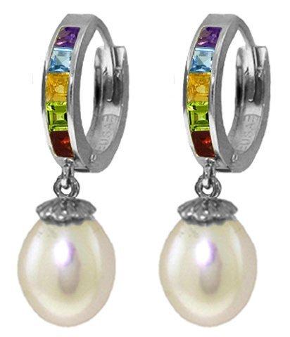 14k Multi Gemstone Huggie Earrings with Pearls