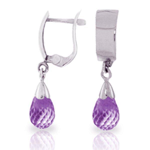 2.50ct Briolette Amethyst Earrings in 14k WHITE GOLD