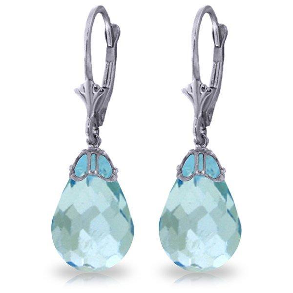 20.50ct Blue Topaz Briolette Drop Earrings in 14k WG