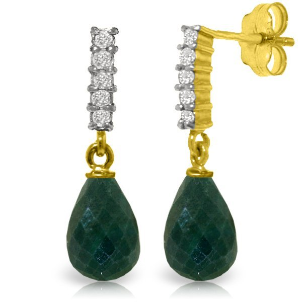 14K Solid Gold 6.60ct Emerald & Diamond Earring
