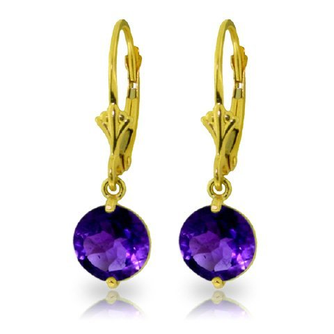 3.10ct Amethyst Dangle Earrings in 14k Yellow Gold