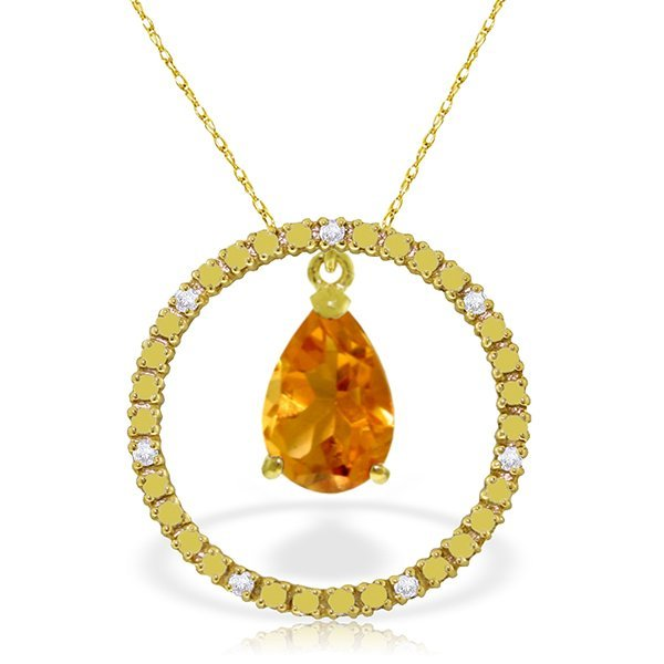14K Solid Gold 6.5ct Citrine & Diamond Necklace