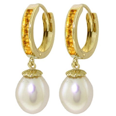 14K Solid Gold 8.00ct Pearl & 1.30ct Citrine Earring