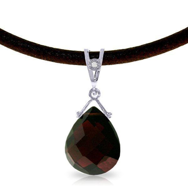 14K White Gold 6.5ct Garnet & Diamond Necklace