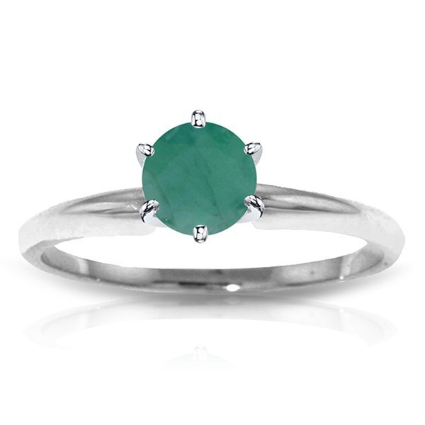 14k WHITE GOLD 0.65ct Emerald Solitaire Ring