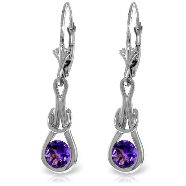 14k White Gold 1.30ct Amethyst Eternity Earrings