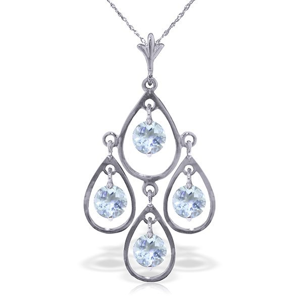 14k WG 1.20ct Aquamarine Chandelier Necklace