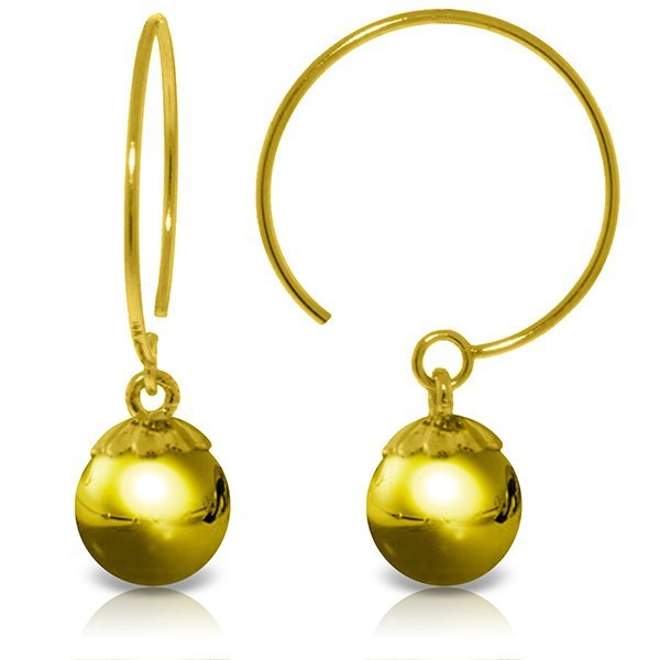 14K Solid Gold Ball Dangle .60gr Earring