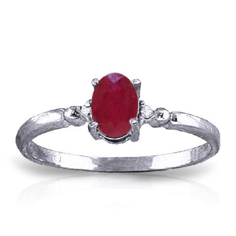 14K WG 0.01ct DIAMONDS & 0.50ct OVAL RUBY RING