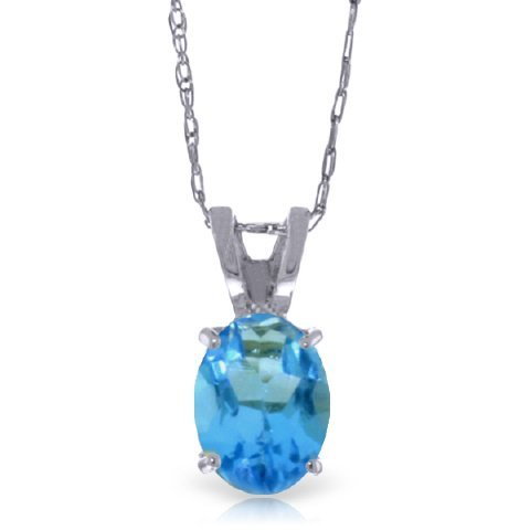 14k White Gold 0.85ct Oval Blue Topaz Necklace