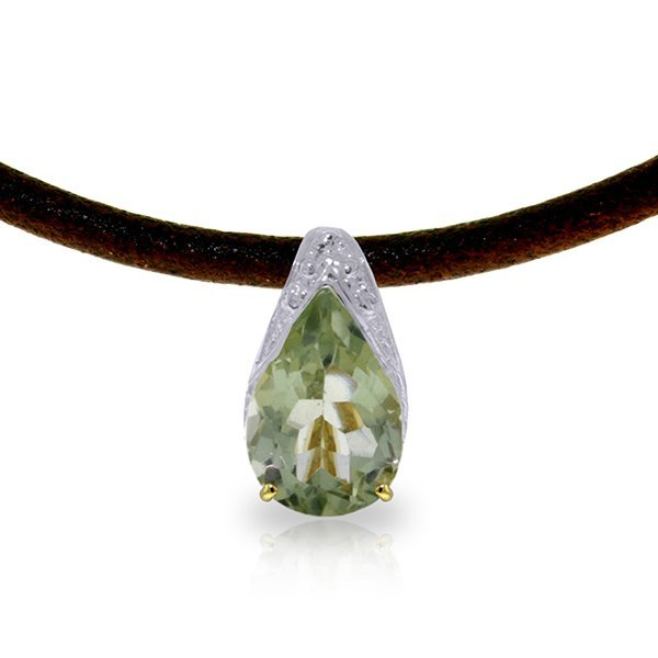 14K Solid Gold 6.0ct Green Amethyst,Diamond Necklace