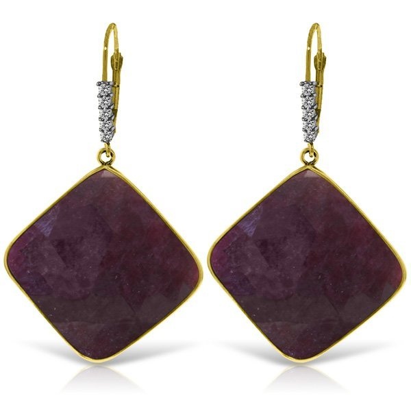 14K Solid Gold 40.5ct Ruby & Diamond Earring