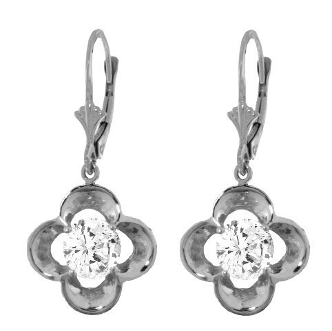 14k Solid Gold 1.0ct Diamond Flower Earrings