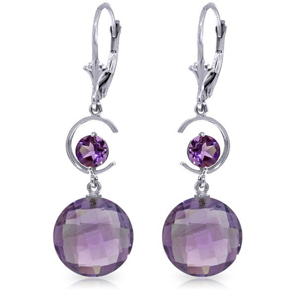 14k White Gold 11.60ct Amethyst Earrings