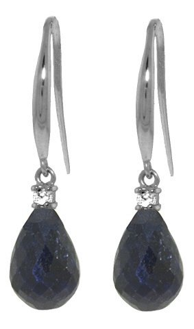 14k WG 6.60ct Sapphire & Diamond Fish Hook Earrings