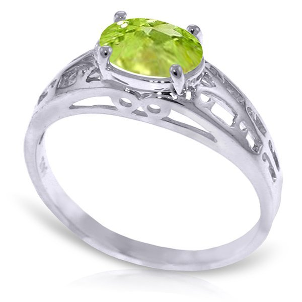 14K White Gold 1.15ct Oval Peridot Filigree Ring