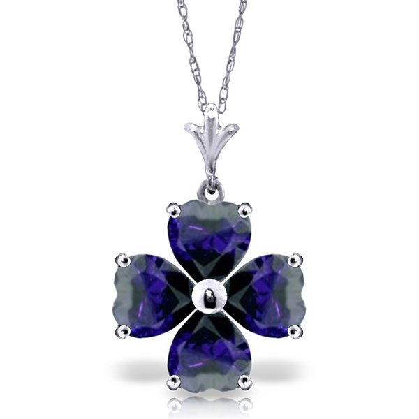 14k White Gold 3.60ct Sapphire Heart Necklace