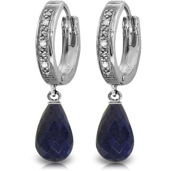 14k WG 6.60ct Sapphire & Diamond Hoop Earrings