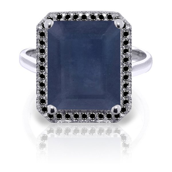 14K White Gold 6.40ct Sapphire & Black Diamond Ring