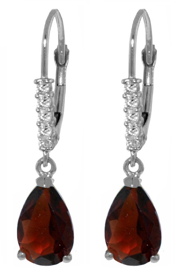 14k WG 3.00ct Garnet with Diamond Leverback Earrings