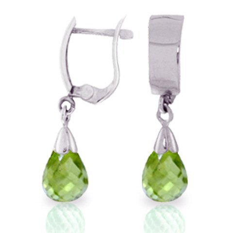 14K WG 2.50ct DROP PERIDOT LEVERBACK EARRING