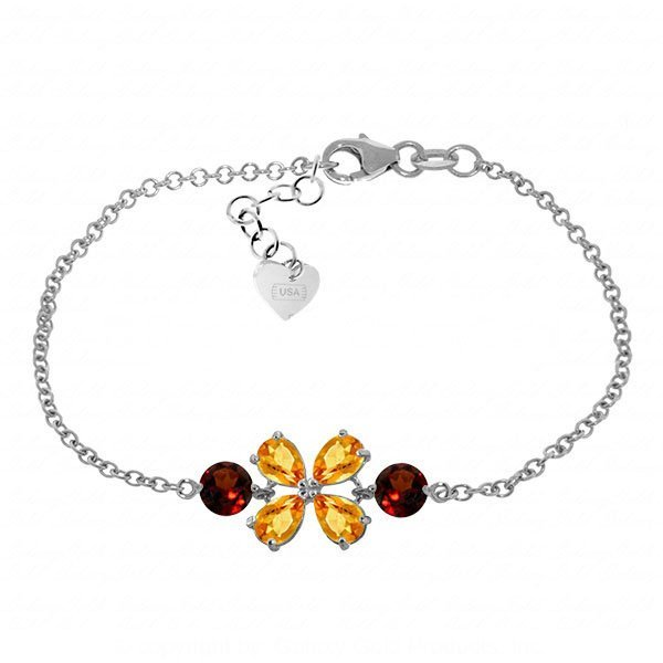 14K White Gold 2.15ct Citrine & Garnet Flower Bracelet