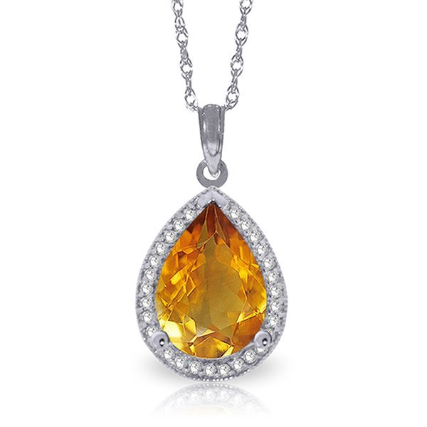 14k Solid Gold 3.50ct Citrine & Diamond Necklace