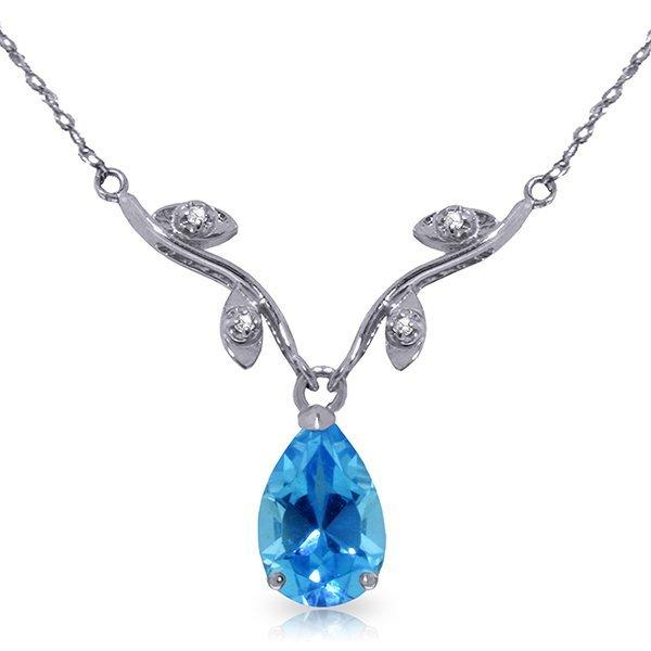 14k WG Elegant 1.50ct Blue Topaz w/ DIAMOND Necklace