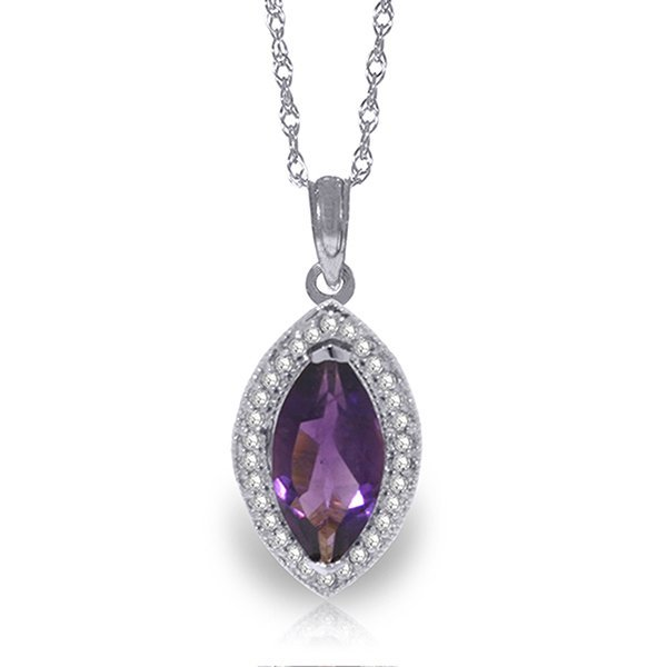 14k Solid Gold 1.65ct Amethyst & Diamond Necklace