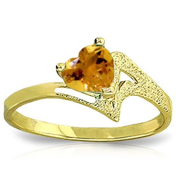 14K YELLOW GOLD 0.95ct HEART SHAPE CITRINE RING