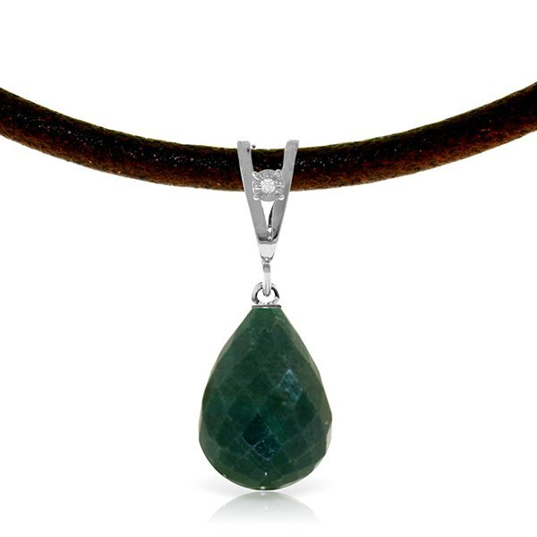 14K White Gold 15.50ct Emerald & Diamond Necklace