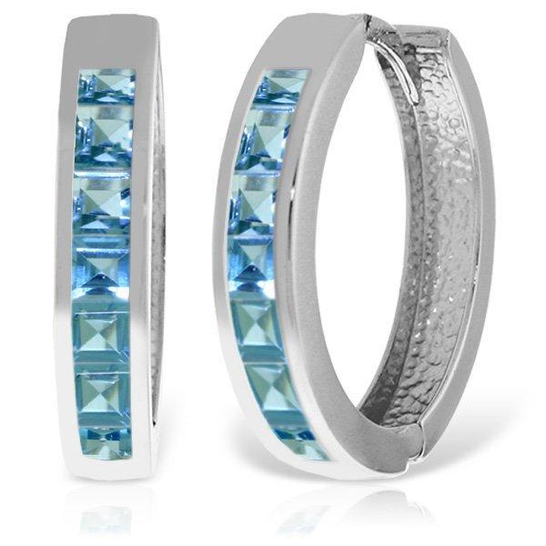 14K White Gold 1.85ct Blue Topaz Huggie Earring