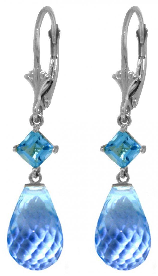 Blue Topaz Dangle Earrings in 14k White Gold