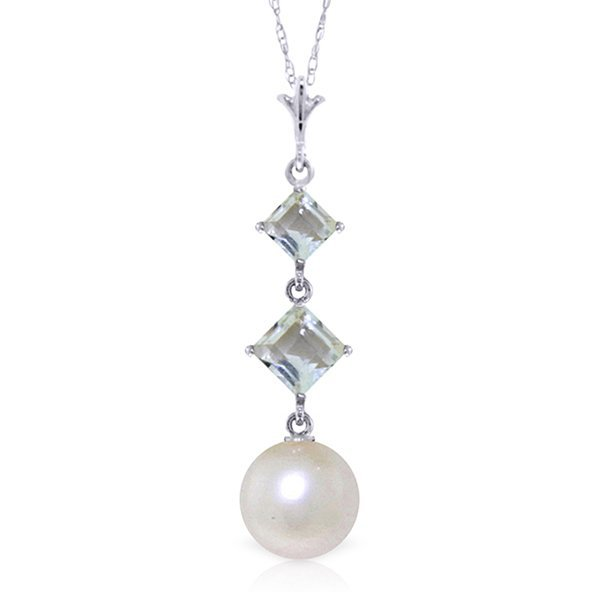 14K White Gold 2.0ct Pearl & Aquamarine Necklace