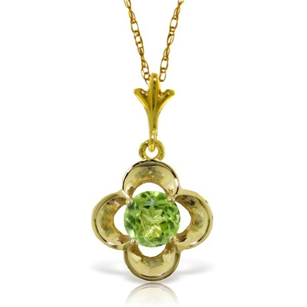 14k Solid Gold 0.55ct Peridot Flower Necklace