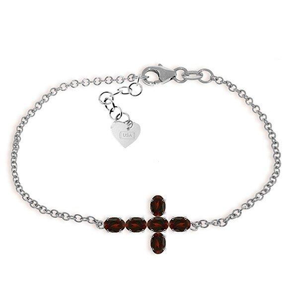 1.7ct 14k White Gold Cross Bracelet Natural Garnet