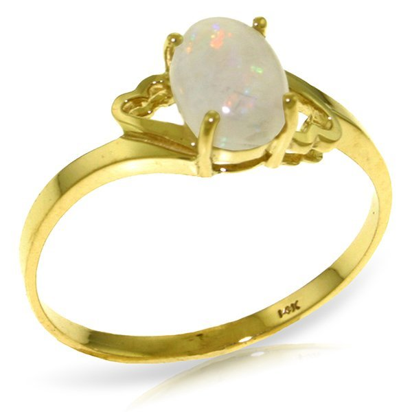 14K YELLOW GOLD 0.45ct OVAL NATURAL OPAL RING