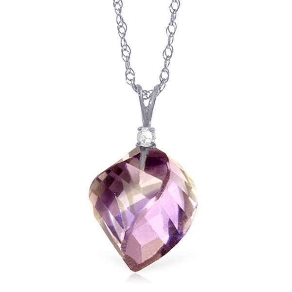 14k Gold 10.75ct Amethyst with Diamond Necklace