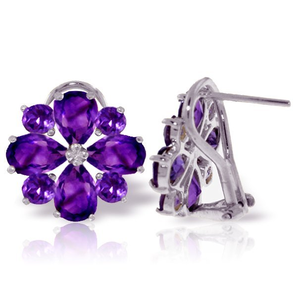 14k WG 3.25ct&1.6ct Amethyst Flower French Clip Earring