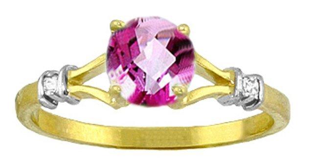 14K YG NATURAL DIAMONDS & 1.00ct PINK TOPAZ RING