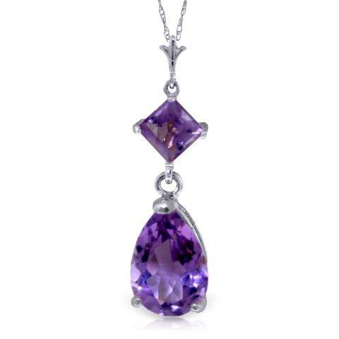 1.50ct & 0.50ct Amethyst Drop Necklace in 14k WG