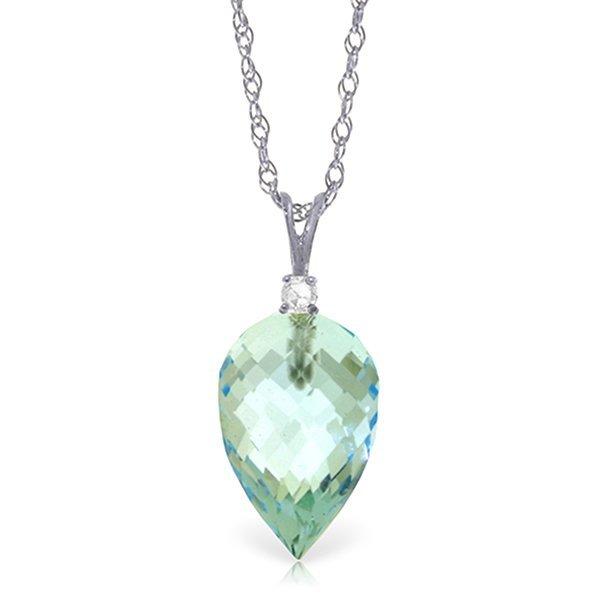 14k WG 11.25ct Blue Topaz & Diamond Necklace