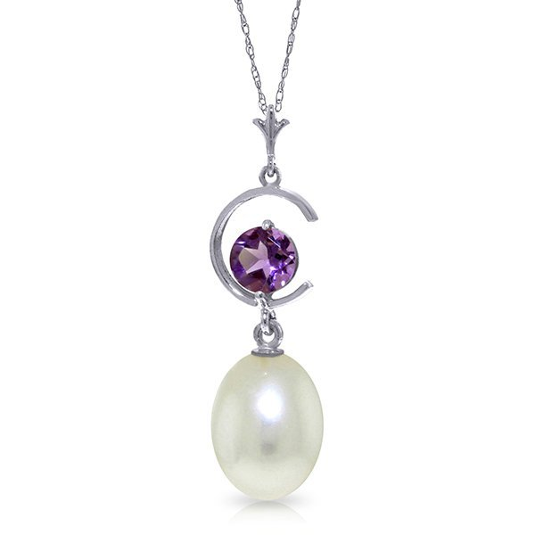 14k WG 0.50ct Amethyst & Pearl 'C' Necklace