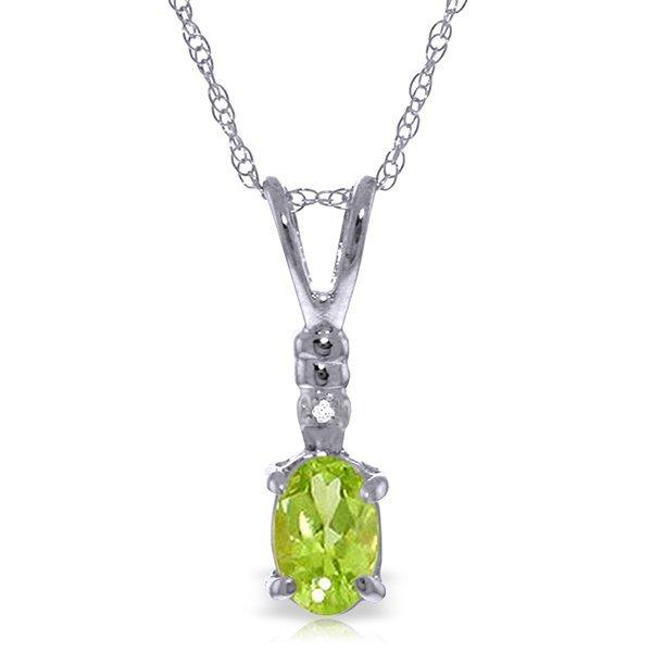 14k WHITE GOLD 0.45ct Peridot Necklace with Diamond