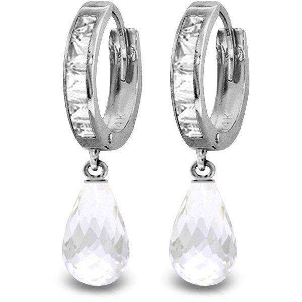 14K White Gold 4.50ct & .85ct White Topaz Hoop Earring