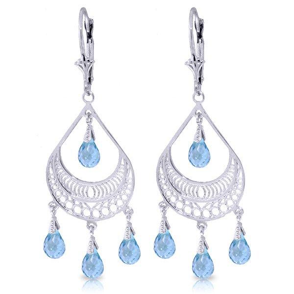 14k WG 6.75ct Blue Topaz Chandelier Earrings