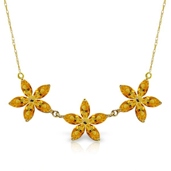14K Y. GOLD 4.20ct MARQUIS CITRINE FLOWER NECKLACE