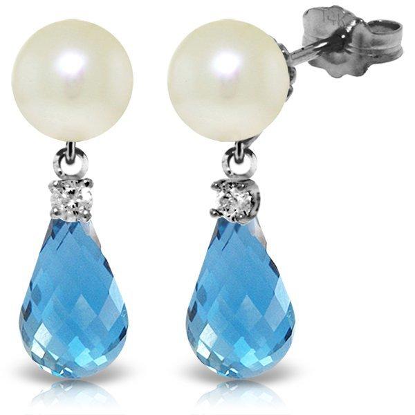 14k WG 4.50ct Blue Topaz, Diamond & Pearl Earrings