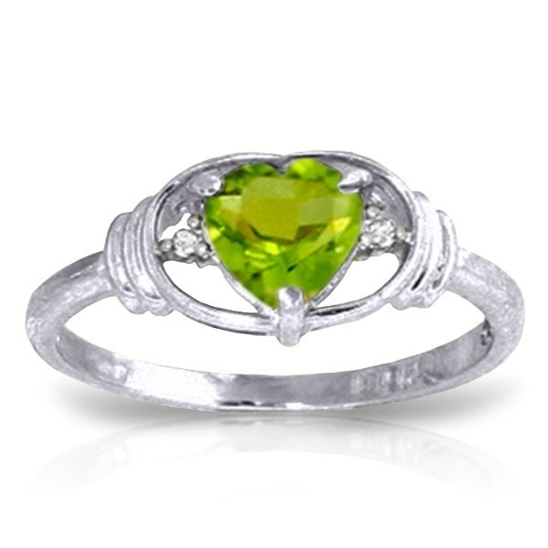 14K White Gold .60ct Heart Peridot & Diamond Ring